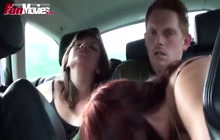 Threesome in the car on the highway