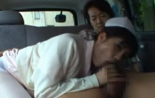 Japanese nurse sucks in the car
