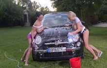 Two big boobed girls washing my car
