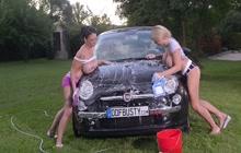 Two big boobed girls washing my car