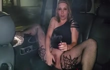 Smoking blonde bitch toying pussy