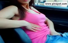 Cute Pinay chick masturbating in the car